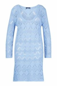 Womens Plus Crochet Beach Dress - blue - 16-18, Blue