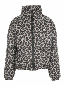 MSGM Leopard Print Down Short Jacket