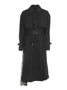 MSGM Black Gabardine Trench With Sequins