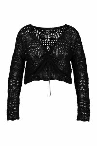 Womens Plus Ruched Crochet Knit Jumper - black - 18, Black