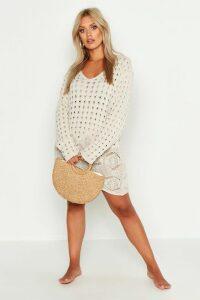Womens Plus Crochet Lace Detail Beach Dress - beige - 20-22, Beige