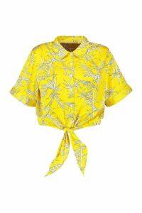 Womens Plus Knot Front Tropical Print Shirt - orange - 20, Orange