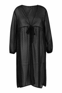 Womens Plus Dobby Mesh Tie Front Kimono - black - 20, Black