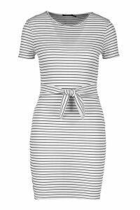 Womens Petite Striped Knot Front T-Shirt Dress - white - 10, White