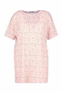 Womens Plus Floral Ditsy T-Shirt Dress - Pink - 20, Pink