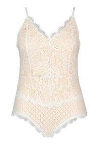 Womens Plus Premium Eyelash Lace Bodysuit - white - 20, White