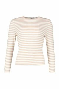 Womens Petite Basic Crew Neck Stripe Long Sleeve T-Shirt - beige - 14, Beige