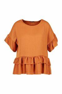 Womens Plus Linen Look Woven Ruffle Tiered Smock Top - orange - 26, Orange