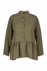 Womens Plus Peplum Hem Shirt - green - 18, Green