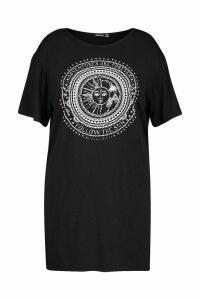 Womens Plus Sun Print Short Sleeve T-Shirt Dress - black - 20, Black