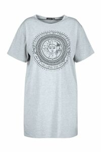 Womens Plus Sun Print Short Sleeve T-Shirt Dress - grey - 16, Grey