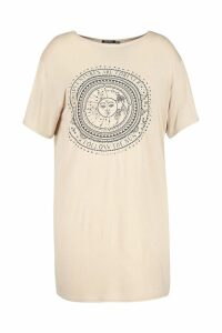 Womens Plus Sun Print Short Sleeve T-Shirt Dress - beige - 26, Beige