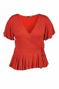 Womens Plus Polka Dot Wrap Peplum Top - orange - 16, Orange