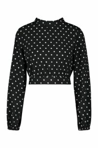 Womens Petite High Neck Tie Back Spot Blouse - black - 10, Black