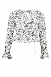 Womens Petite Ruffle Detail Lace Up Floral Top - white - 12, White