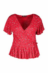 Womens Plus Ditsy Floral Rib Peplum Wrap Top - red - 20, Red