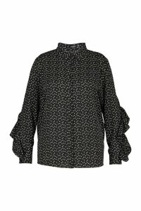 Womens Plus Heart Print Ruffle Boyfriend Shirt - black - 20, Black