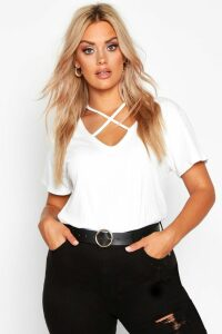 Womens Plus Cross Front Strap Ribbed T-Shirt - white - 22, White