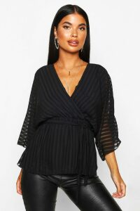 Womens Petite Woven Sheer Stripe Wrap Batwing Blouse - black - 12, Black