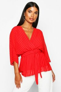 Womens Petite Woven Sheer Stripe Wrap Batwing Blouse - red - 12, Red