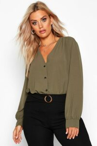 Womens Plus Woven Button Through Collarless Shirt - green - 24, Green