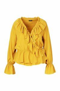Womens Plus Woven Ruffle Wrap Blouse - yellow - 20, Yellow