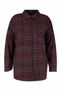 Womens Plus Check Shirt - maroon - 18, Maroon