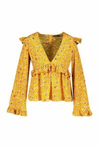 Womens Plus Floral Print Frill Smock Top - yellow - 20, Yellow