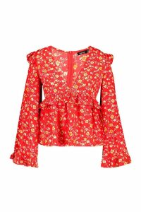 Womens Plus Floral Print Frill Smock Top - red - 20, Red