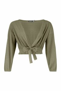 Womens Petite Knitted Rib Tie Front Top - green - 14, Green