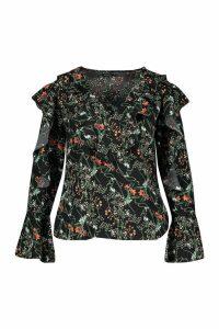 Womens Plus Floral Ruffle Woven Top - black - 20, Black