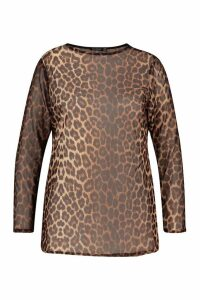 Womens Plus Leopard Mesh Longsleeve Top - brown - 20, Brown