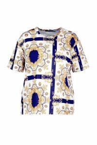 Womens Plus Chain Print T-Shirt - navy - 22, Navy
