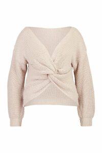 Womens Plus Twist Front Knitted Jumper - beige - 20, Beige