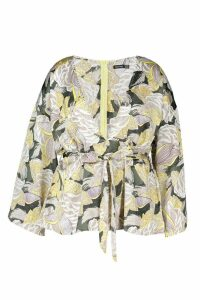 Womens Plus Paisley Floral Satin Wrap Tie Blouse - yellow - 18, Yellow