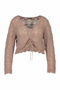 Womens Plus Ruched Crochet Knit Jumper - beige - 18, Beige