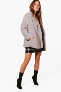 Womens Petite Double Breasted Teddy Coat - grey - 6, Grey