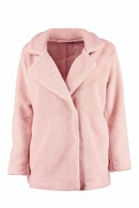 Womens Petite Double Breasted Teddy Coat - Pink - 14, Pink