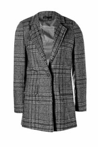 Womens Petite Check Coat - black - 12, Black