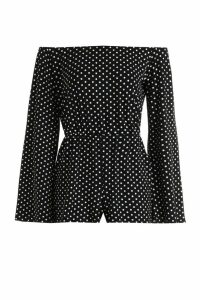 Womens Petite Polka Dot Flare Sleeve Bardot Playsuit - black - 12, Black