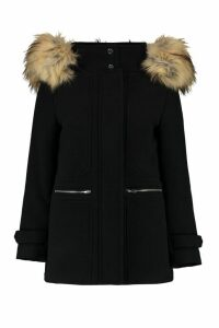 Womens Petite Wool Fitted Parka - black - 14, Black