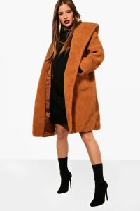 Womens Petite Oversized Hooded Teddy Coat - beige - 14, Beige