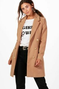 Womens Petite Double Breasted Military Duster Coat - beige - 14, Beige