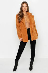 Womens Petite Double Breasted Teddy Coat - brown - 4, Brown