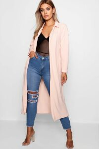 Womens Plus Crepe Longline Duster - pink - 18, Pink