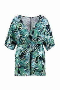 Womens Plus Tropical Kimono Playsuit - multi - 24, Multi