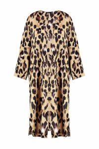 Womens Plus Lissy Leopard Print Satin Kimono - brown - 24, Brown