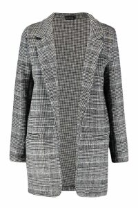 Womens Checked Wool Look Boyfriend Coat - grey - 12, Grey