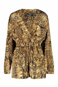 Womens Belted Mixed Animal Print Playsuit - brown - 14, Brown