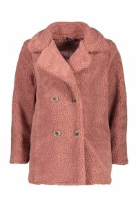 Womens Double Breasted Teddy Faux Fur Coat - Red - 10, Red